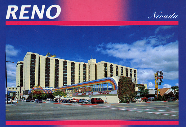 The Sands Regency Casino Hotel is just outside the epicenter of downtown Reno, near cheap motels and older houses. It's around a minute walk to the Reno Events Center, and there are other casinos, restaurants, and shops within walking distance as well/5.